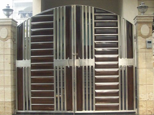 Stainless Steel Gates With Wooden Work Gyan Overseas