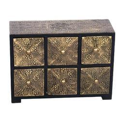 Antique Golden Wooden Brass 6 Drawer Cabinet