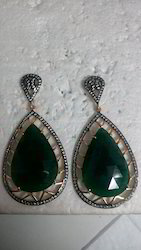 Green Aventurine Earring In Sterling Silver