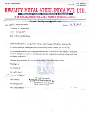 Performance Certificate by Kwality Metal Steel India