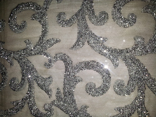 Silver Heavy Sequin Embroidered Fabric P J Tex Id 4316411233
