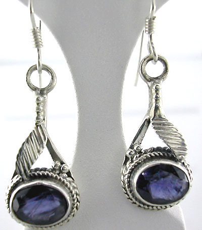 Blue Stone Silver Earrings