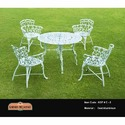 Karara Mujassme Cast Iron Antique White Cast Aluminum Outdoor Chair Set