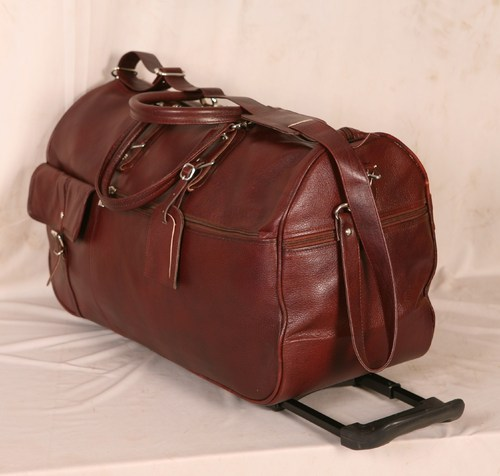 Leather Luggage Trolley Bags, Leather Trolley Bags | Dharavi ...
