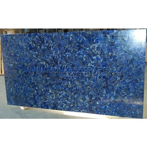 Semi Precious Gemstone Table Tops Lapis Lazuli Mosaic