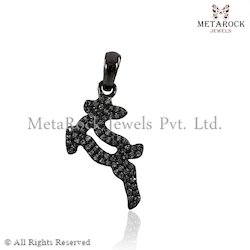 Initials Charm Pave Diamond Charm Pendant