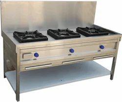Three Burnar Cooking Range With Back Flash