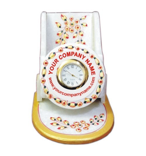 Multicolor Mobile Stand With Time Piece (Marble)