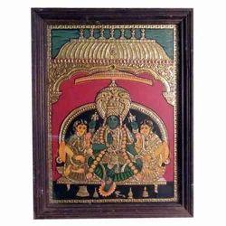 Narayana with Sridevi Bhudevi Tanjore Painting