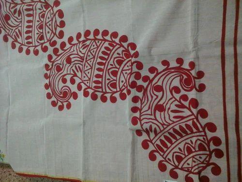 Fabric Painted Cotton Saree
