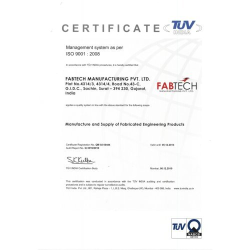 FabTech Manufacturing Pvt  Ltd  - Manufacturer from Sachin