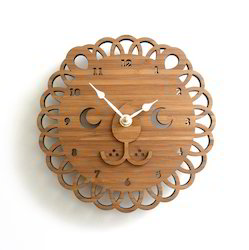 Brown Wood Decorative Wall Clock, For Home