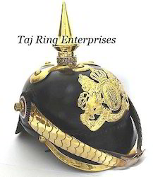 Brass Badge Leather Pickelhaube Helmet