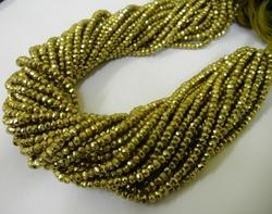 Parrot Green Pyrite Gemstone Faceted Rondelle Beads Strands