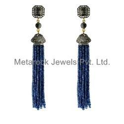Pave Diamond Gemstone Tassel Beads Earrings