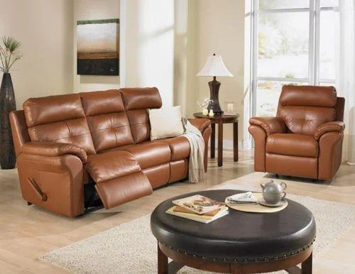 Leather Recliner Sofa Set चमड क