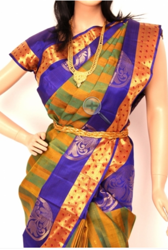 003193efa822ae Green Gram Color Pure Silk Saree - Shree Devi Textiles