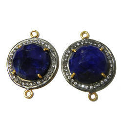 Dyed Blue Sapphire Pave Setting Connector