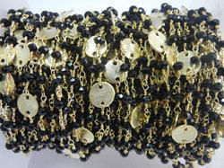 Black Onyx Gold Plated Sterling Silver Disk Chain