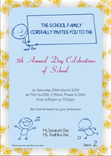 Annual day invitation card at rs 5 pieces saidapet chennai annual day invitation card stopboris Choice Image