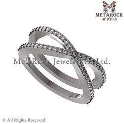 Pave Diamond 925 Silver Ring Jewelry