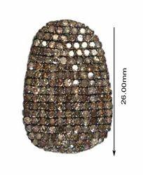 Pave Diamond Bead, Size: 25 X 17 mm