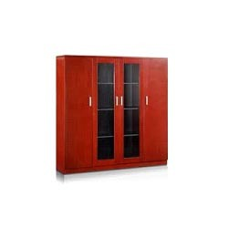 Wooden Filing Cabinet With Glass Doors