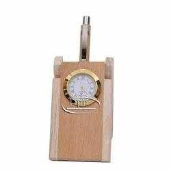 Wooden Clock Pen Stand