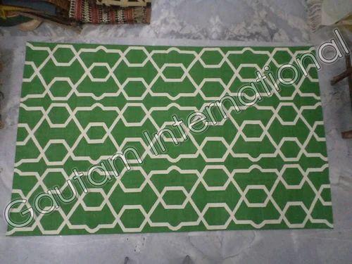 Green Designer Cotton Durries, Size: 3x8 Ft