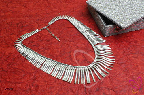 52efbb067a484 Spiral Alloy Metal Silver Choker Necklace