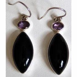 Black Amethyst Stone Earring