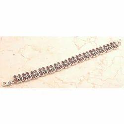 Whimsical 925 Sterling Silver Garnet Bracelet