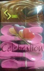 Plastic Celebration Pink Spoon