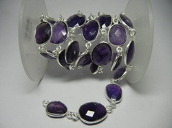 Amethyst Gemstone Bezel Set Connector Station Chain