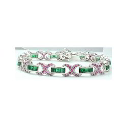 Emerald And Ruby Gemstone 925 Sterling Silver Bracelet