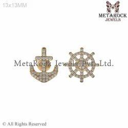 Mismatched Diamond Gold Stud Earrings