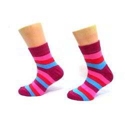 Mulit Colour Cotton And Kids Striped Socks