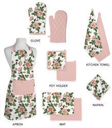 Green Flower Kitchen Linen Set