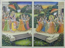 Radha Krishna Ivory Miniature Painting