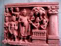 Stone Red Buddha Sculpture