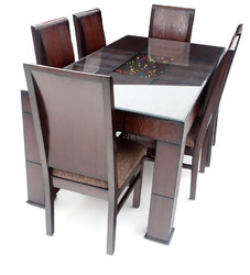 6 Seater Stylish Glass Top Dining Table