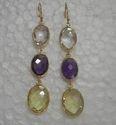 Natural Bezel Set Gemstone Earring