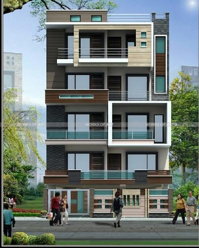 Wonderful Residential Exterior Services   Residential Flat Exterior Designing Service  Consultants From Delhi