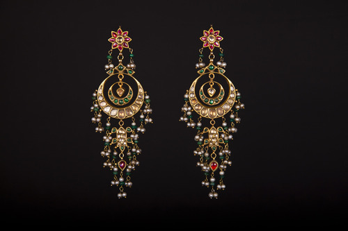 22k Gold Bollywood Designer Kundan Earrings Swarn Jewels New