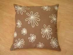 Flower Printed Brown Cushion Cover