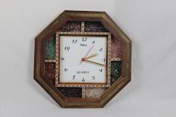 Big Gem Stones Teak Wood Octagonal Watch