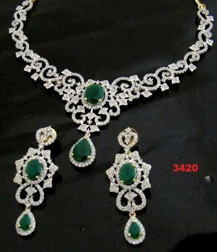 American Diamond Necklace Set At Rs 3420 Piece Shankar Nagar Jaipur Id 4149783562
