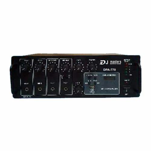 DJ Amplifier, Input Channel: Mic 4 X 0.65 Mv/4.7 K W, Aux: Usb &fm/mp3 Player