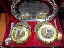 Gold And Silver Plated Mix Tray With Bowls and Spoons