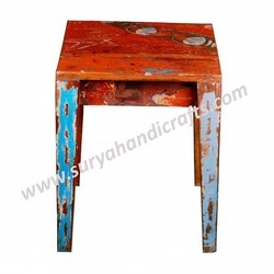Wooden Stool Old Paint